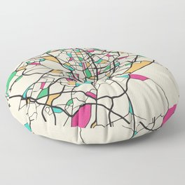 Colorful City Maps: Madrid, Spain Floor Pillow