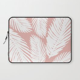 White Tropical Palm Tree Fern Leaf on Rose Gold Pattern Laptop Sleeve