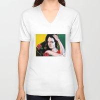 dia de los muertos V-neck T-shirts featuring Dia de los Muertos by whiterabbitart