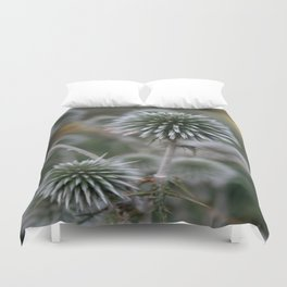 Macro Seed Head of Round Headed Garlic  Duvet Cover