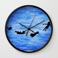 neverland Wall Clocks featuring Neverland by Sierra Christy Art