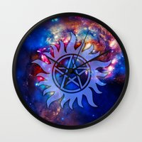 supernatural Wall Clocks featuring Supernatural Cosmos by Spooky Dooky