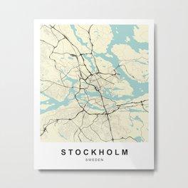 Stockholm Sweden City Map Metal Print