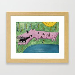 Squareland -squocodrile Framed Art Print