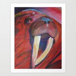 The Red Walrus Art Print