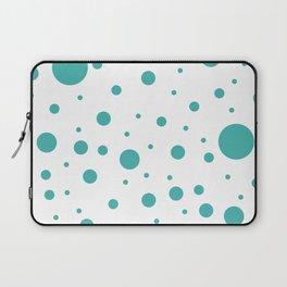 Mixed Polka Dots - Verdigris on White Laptop Sleeve