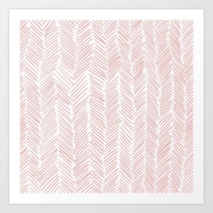 Living Coral Herringbone Kunstdrucke