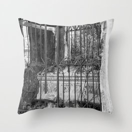 old gate & grave Throw Pillow
