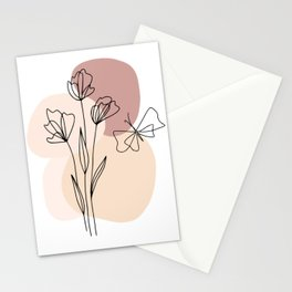 Minimal Line Art Flowers And Butterfly Stationery Cards