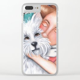 Sweet Coconut Original Art Schnauzer and girl Portrait Clear iPhone Case