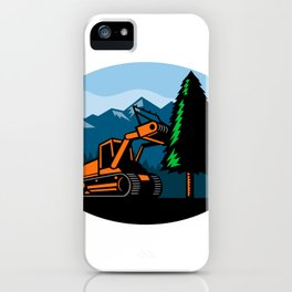 Forestry Mulcher Tearing Tree Oval Retro iPhone Case