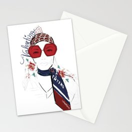 The Girl with the Red Scarf Stationery Cards