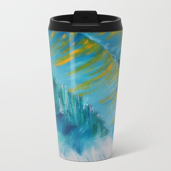 Abstract Palm  Metal Travel Mug