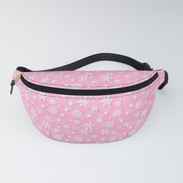 Festive Sweet Lilac Pink and White Christmas Holiday Snowflakes Fanny Pack