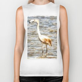 Pretty Flamingo Fledgling Watercolor Biker Tank