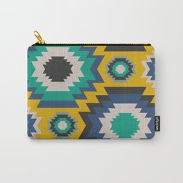 Ethnic in blue, green and yellow Carry-All Pouch