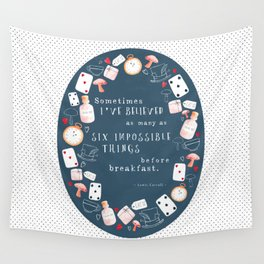 Alice in Wonderland - Six Impossible Things Wall Tapestry