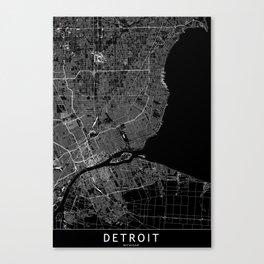Detroit Black Map Canvas Print