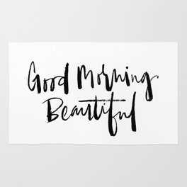 Good Morning Beautiful Brush Script Rug