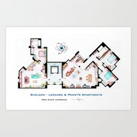 Sheldon, Leonard and Penny Apartment form TBBT Art Print