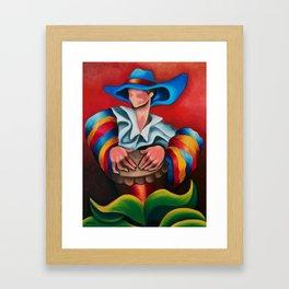 Blue hat. Miguez art Framed Art Print