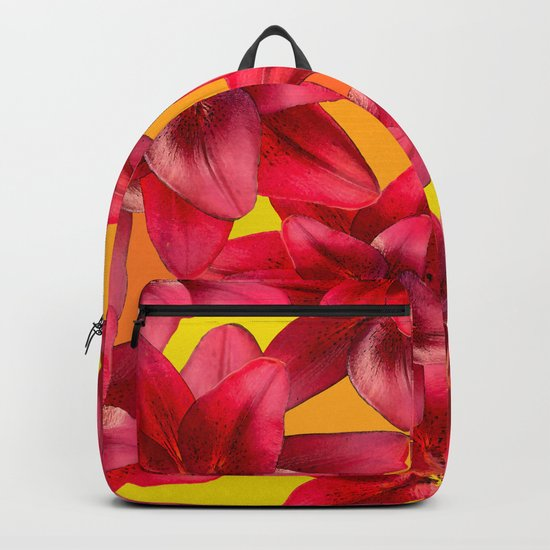 Red Beauty Lilies - Autumn Color - #Society6 #buyart Backpack