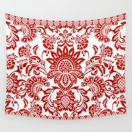 Damask in red Wall Tapestry
