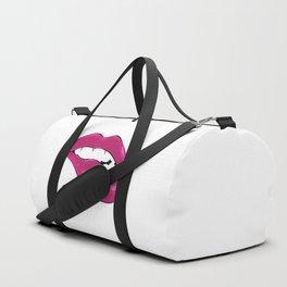 Pink lip biting Duffle Bag