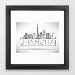 Linear Shanghai Skyline Framed Art Print