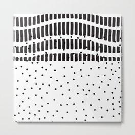Modern black white  watercolor brushstrokes polka dots Metal Print