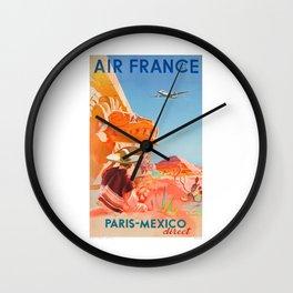 1952 AIR FRANCE Paris Mexico Direct Travel Poster Wall Clock