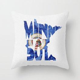 Minnesota Typographic Flag Map Art Throw Pillow