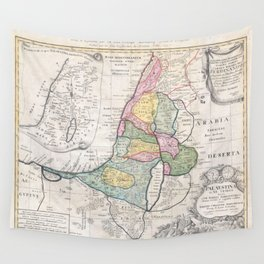Old 1750 Historic State of Palestine Map Wall Tapestry