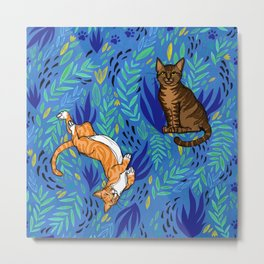 Cats in the Garden Metal Print