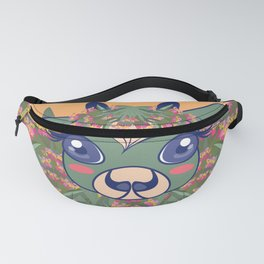 Year of The Ox, Big Eyes Heart Shaped Hair Cutie Green Cow In Mugwort Blossoms - Orange Ombre BG Fanny Pack