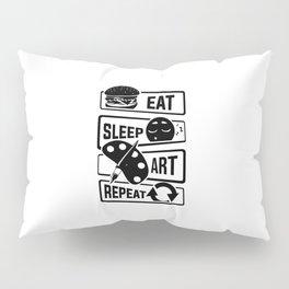 Eat Sleep Art Repeat - Art Artists Painters Brush Pillow Sham