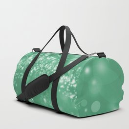 Elegant green white abstract starry Christmas pattern Duffle Bag