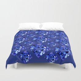 FACETED BLUE ON BLUE SAPPHIRE GEMSTONES Duvet Cover
