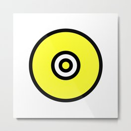 Yellow Black Circle Metal Print