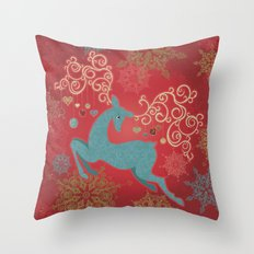 Magic Winter Deer Throw Pillow