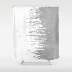 Concrete Fringe White Side Shower Curtain