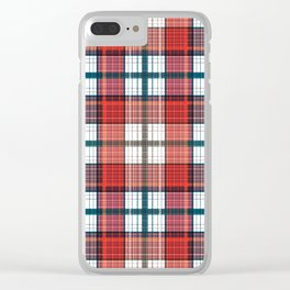 Colorful red grey plaid . Clear iPhone Case