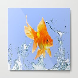 DECORATIVE  GOLDFISH SPLASHING  WATER ART Metal Print