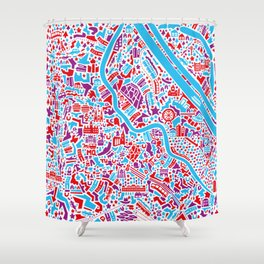 Vienna City Map Poster Shower Curtain