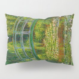 Claude Monet Impressionist Landscape Oil Painting-The Japanese Footbridge and the Water Lily Pool, Pillow Sham