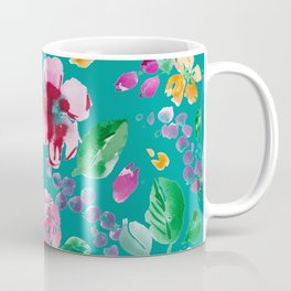 Summer Blooms on Teal Coffee Mug