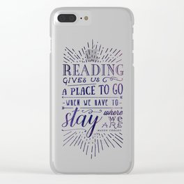 Reading gives us a place to go - inversed Clear iPhone Case