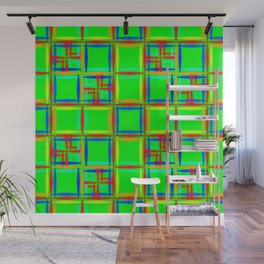 Oriental pattern of neon squares and curly crosses on a green background. Wall Mural