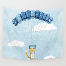 Cutie Parachuting Dog Wall Tapestry