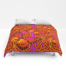ORANGE MONARCH BUTTERFLIES CELTIC ART VIOLET COLOR Comforters